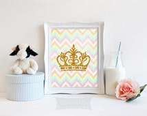 Gold Crown Printable, 8x10 Art Print, Pastel Chevron, Girls Room Wall Art, Gold Glitter, Nursery Art Print, INSTANT DOWNLOAD