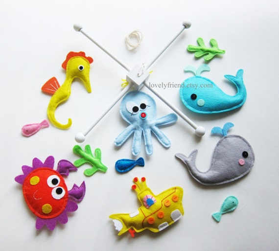 Items similar to customize baby mobile yellow submarine for Sea animal baby mobile