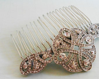 Vintage Art Deco Bridal Slide Comb - SILVER