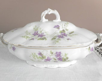 Antique Dinnerware Serving Dish with Lid Handles White Purple Flowers N D & Co Carlsbad China Austria ca. 1900 Serving Dining Home Decor B