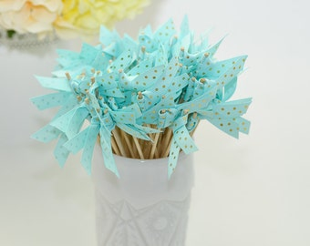 Pale Blue with Gold Foil Polka Dot Ribbon Cocktail Stirrers - 25 count - 6 inch skewers
