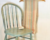 Vintage Full Fitted Striped Sheet Linens Size Double No Iron Made In USA Earth Tones Browns & Blues Burlington Caress