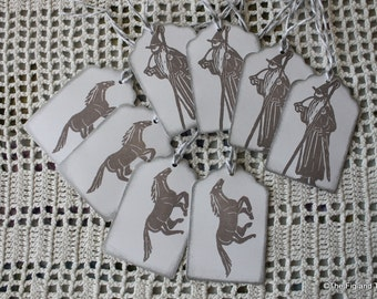 Gandalf and Shadowfax Tags - Handstamped Set of Eight from hand carved stamps -Hobbit Tolkien Lord of the Rings LOTR