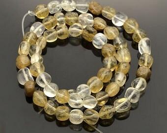 Natural Rutilated Quartz Beads 15 Inch Strand - BD853