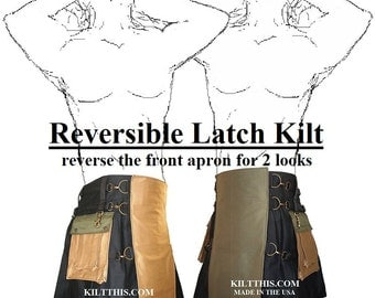 Interchangeable Utility Kilt Handmade Cotton Black Khaki Green Reversible Apron Metal Latch Design Adjustable Custom Fit with Cargo Pkts