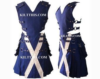 Interchangeable Kilt Vest Saint Andrew's Scottish Flag Utility Kilt 10oz Canvas Set Adjustable Custom with Large Expanding Cargo Pockets
