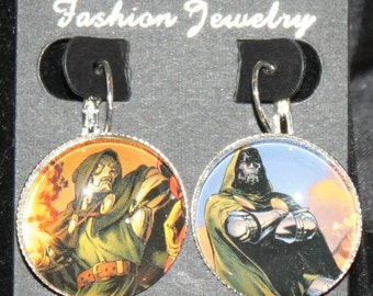 Doctor Doom Marvel Fantastic Four Earrings Silver Drop Comic Book