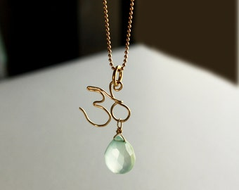Gold Ohm Necklace with Aqua Chalcedony