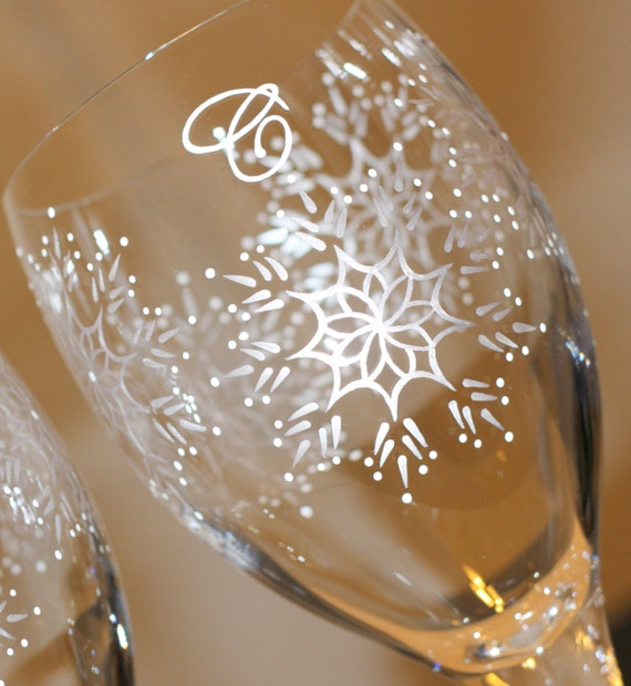 Items similar to snowflake wine glass winter glasses for Holiday stemware