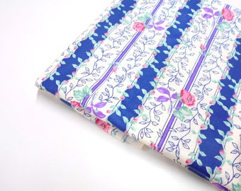 Blue Floral Fabric , 1 yard Sewing Material, Manes Collection, Quilting Cotton