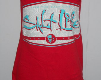 Live the SALT LIFE Red Turquoise strapless tube top UPCYCLED repurposed T Shirt S