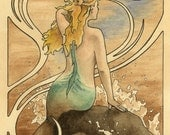 """Mermaid sits on a water sprayed rock in the ocean and watches ship approach, art nouveau border - ACEO Art Reproduction (Print) - """"Mermaid"""""""