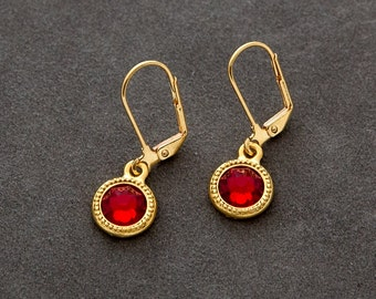 January Birthstone Jewelry, Garnet Earrings, Petite Drop Earrings, Gold Birthstone Earrings