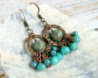 aqua jumbles rustic copper drop earrings, dangle, hoops, boho, bohemian,