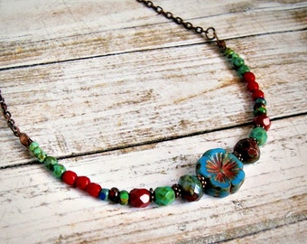 rustic colorful beaded necklace, beaded chain, czech glass necklace, copper, statement, boho, bohemian, women, flower