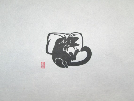 Catnapped! - Mini Black Cat Lino Block Print
