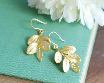 Leaf Earrings Branch Earrings Gold Leaf Sprig Earrings Woodland Jewelry Botanical Jewelry Leaf Jewelry Nature Inspired