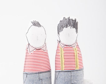 SMALL Children - Little twins Brothers in Red striped shirts and gray jeans , Suitable for family portrait- timo handmade  fabric eco dolls