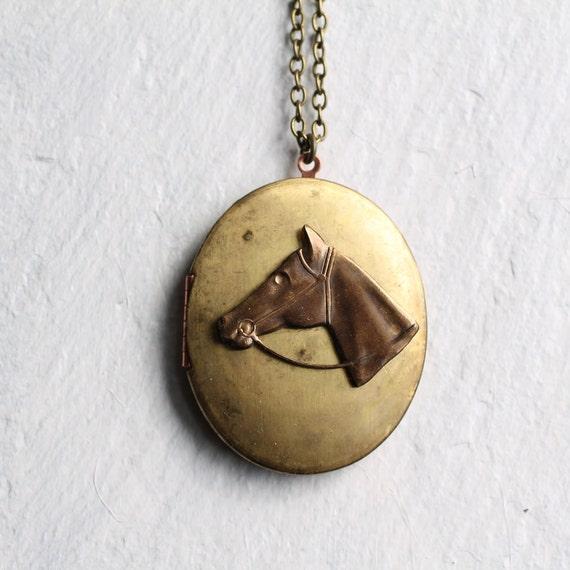 Horse Head Locket ... Stallion Pony Brass Necklace