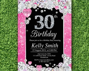 Glam birthday invitation, Rhinestone diamond elegant invite 30th 40th 50th 60th 70th 80th 90th adult birthday design - card 31