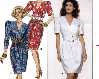 Butterick 6266 by David Warren Vintage 80s Misses' Dress Sewing Pattern - Uncut - Size 8, 10, 12