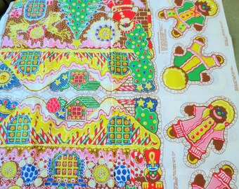 Vintage Sew and Stuff, Gingerbread House, Gingerbread Men, Christmas Sew and Stuff, Christmas Decor, Printed Fabric Panel, Christmas Fabric