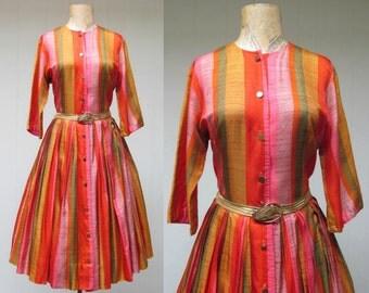 Vintage 1950s Dress / 50s Striped Rayon Pleated Shirtwaist Dress Full Skirt / Medium