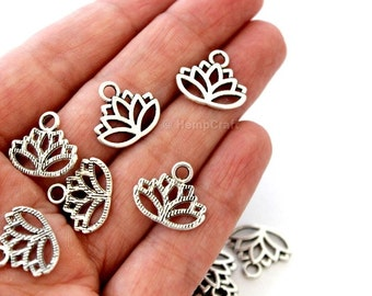 20 Antique Silver Finish Lotus Blossom Shaped Charms - 17mm x 14mm - Lead-Free Zinc Alloy - Waterlily, Flower, Enlightenment, Sacred, Bloom