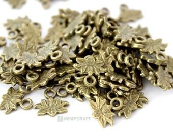Tiny Lotus Flower Charms, 50pc Bronze Lotus Charms, 10mm