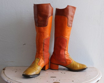 Vintage VTG 1960's 1970's Multicolored Leather Mod Knee High Boots Bandolino Made in Italy Size 7 1/2 N Rolle Hipster Women's Tall Boots