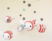 Baby Mobile Hanging, Bumble Bee Mobile, White and Coral Mobile, New Born Gift, Bee Nursery