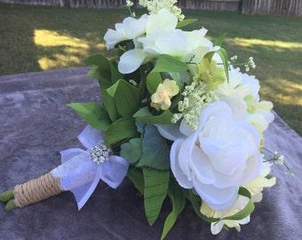 Garden bouquet, Wedding bouquet, Rustic wedding bouquet, Burlap wedding bouquet, Bridal bouquet, White flower bouquet, Rhinestone bouquet