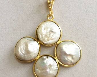 Bridal Four Gold Wrapped Coin Pearl Necklace