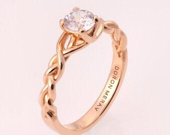 Braided Engagement Ring No.2 - 14K Rose Gold and Diamond engagement ring, 0.5ct diamond ring, engagement ring, celtic, antique, art nouveau