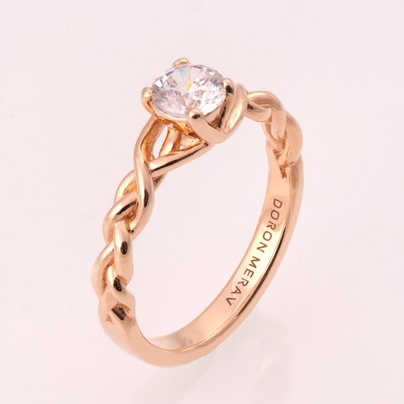 Braided Engagement Ring No 2 14K Rose Gold and Diamond