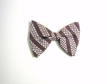 Large Brown Polka Dot Vintage Bow Tie