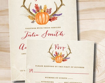 Rustic Fall Floral Antlers Pumpkin Wedding Invitation and Response Card Invitation Suite