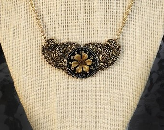 Black and Gold Steampunk Necklace