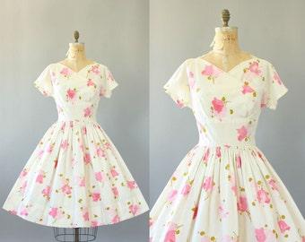 Vintage 50s Dress/ 1950s Cotton Dress/ Pink Floral Cotton Shelf Bust Dress w/ Full Skirt M