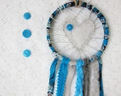 Pretty Blue & Grey Love Catcher, Shabby Chic Lace Dream Catcher, Nursery Decor, Baby Boy Gift