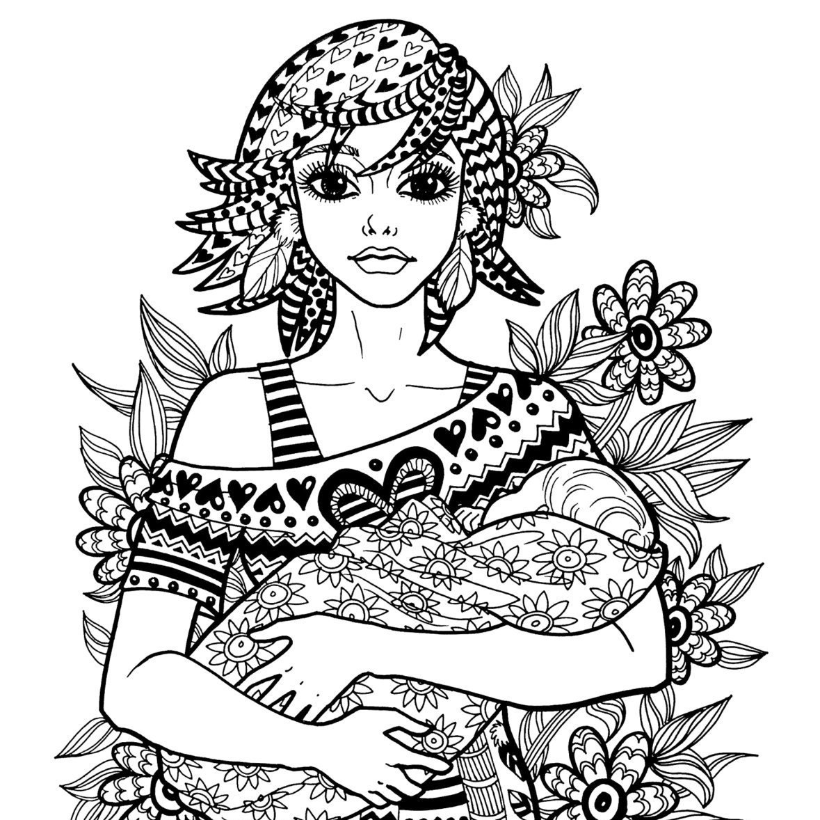 mother coloring pages   TREASURE Of THE HEART Coloring Page Motherhood Series