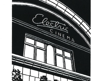 Electric Cinema, Notting Hill, London - Handprinted / Hand pulled Linocut - Edition of 250