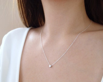 Tiny Star Necklace, Silver Star Necklace, Tiny Star on Sterling Silver Chain, Delicate Necklace, Dainty Necklace, Simple Layering Necklace
