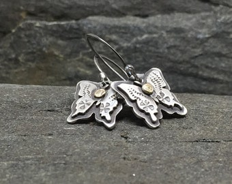 Sweet butterfly earrings, Sterling Silver, 18K Rose Gold, Mariposa, HandMade, Feminine, Small Earrings, Made in New Hampshire, USA