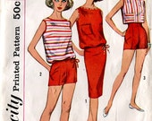 Simplicity 2995 Vintage 1960s Teen Junior Shirt Blouse Shorts Skirt B33