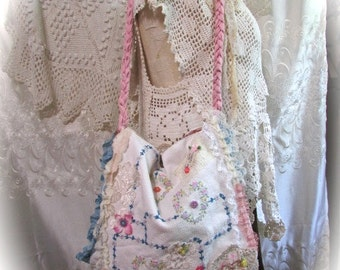 Vintage Linen Bag, handmade with darling floral embroidery stitches, sweet soft slouchy style shoulder bag with flap