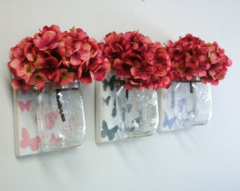 Butterfly decor YOU PICK COLORS Butterfly Wall Decor Trio, Three Mason jars mounted on recycled wood, shabby chic, rustic wall decor,