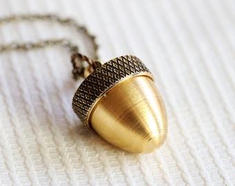 Sale Locket Necklace, Acorn Locket,Acorn Locket Gold, Acorn Pendant Cremation Necklace, Canister Necklace, Ashes Mourning Locket,Wedding