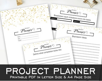 Project Planner - Black & Gold - Template - Sparkle Collection Printables