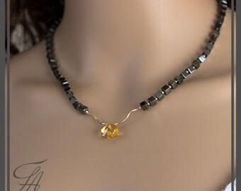 Yellow Citrine with Hematite,Stone Necklace,Pendant Necklace,Gold Necklace,Handmade Necklace,Stone Jewelry,Gemstone Necklace,Gold Jewelry